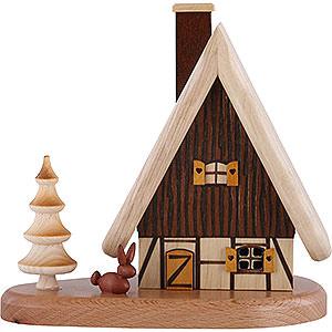 Räuchermänner Sonstige Figuren Räucherhaus auf Sockel, natur - 16x15,5x10 cm