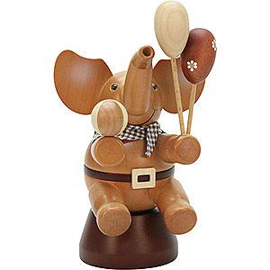 Räuchermänner Tiere Räuchermännchen Elefant mit Spielzeug natur - 20,0cm