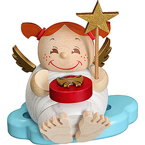 Räuchermänner Sonstige Figuren Räuchermännchen Engel mit Weihnachtsgeschenk - 12cm