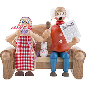Räuchermänner Alle Räuchermänner Räuchermännchen Großeltern auf dem Sofa - 17cm