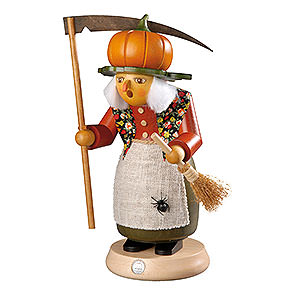 Räuchermänner Sonstige Figuren Räuchermännchen Hexe mit Kürbis - 25cm