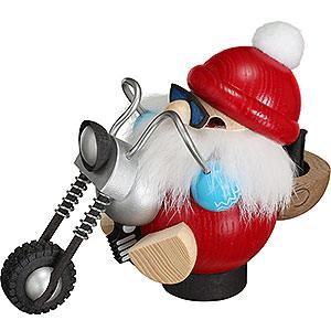 Räuchermänner Weihnachtsmänner Räuchermännchen Nikolaus auf Motorrad - 11 cm