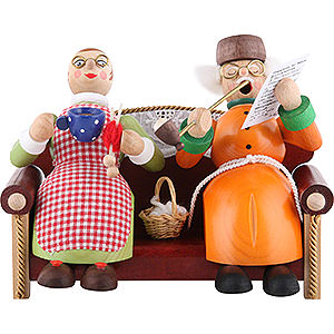 Räuchermänner Sonstige Figuren Räuchermännchen Oma und Opa auf Sofa - 13 cm