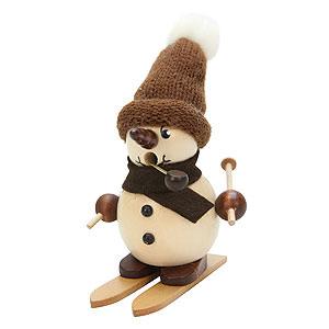 Räuchermänner Schneemänner Räuchermännchen - Schneebub auf Ski natur - 12cm