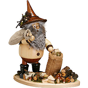 Räuchermänner Sonstige Figuren Räuchermännchen Waldwichtel auf Brett Astsammler - 26cm