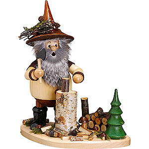 Räuchermänner Sonstige Figuren Räuchermännchen Waldwichtel auf Brett Holzhacker - 26cm