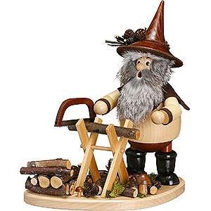 Räuchermänner Sonstige Figuren Räuchermännchen Waldwichtel mit Sägebock auf Brett - 26 cm