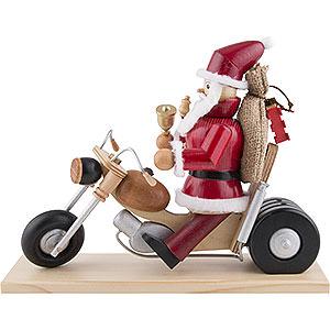 Räuchermänner Weihnachtsmänner Räuchermännchen Weihnachtsmann auf Motorrad - 21 cm