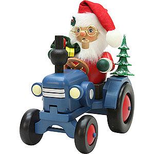 Räuchermänner Weihnachtsmänner Räuchermännchen Weihnachtsmann auf Traktor - 19,5 cm