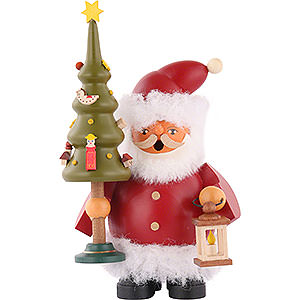 Räuchermänner Weihnachtsmänner Räuchermännchen Weihnachtsmann mit Baum - 14 cm