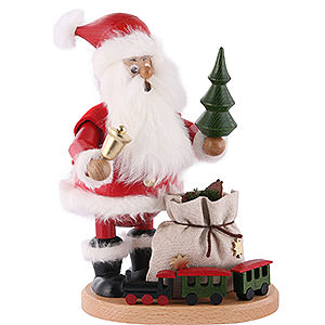 Räuchermänner Weihnachtsmänner Räuchermännchen Weihnachtsmann mit Eisenbahn - 22cm