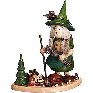 Räuchermänner Sonstige Figuren Räuchermännchen Wichtelfrau auf Brett, grün - 25cm