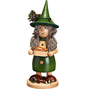 Räuchermänner Sonstige Figuren Räuchermännchen Wichtelfrau mit Pfanne, grün - 25cm