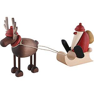 Kleine Figuren & Miniaturen Björn Köhler Weihnachtsfrauen kl. Rentier Rudolf mit Schlittenweihnachtsmann - 12 cm