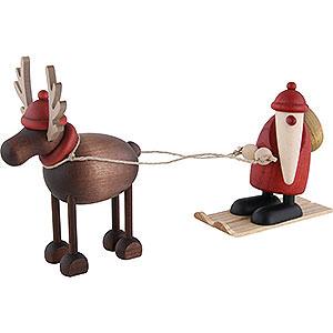 Kleine Figuren & Miniaturen Bj�rn K�hler Weihnachtsfrauen kl. Rentier Rudolf mit Weihnachtsmann auf Ski - 12cm