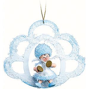 Christbaumschmuck Kuhnert Schneeflöckchen Schneeflöckchen mit Becken in der Wolke - 7x7x4cm
