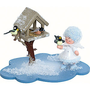 Kleine Figuren & Miniaturen Kuhnert Schneeflöckchen Schneeflöckchen mit Futterhaus - 10x7x6cm