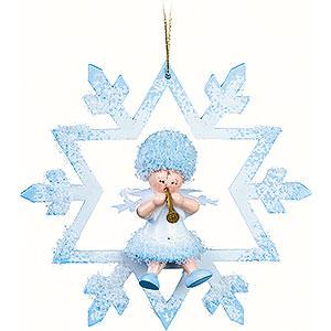 Christbaumschmuck Kuhnert Schneeflöckchen Schneeflöckchen mit Klarinette im Kristal - 7x7x4cm