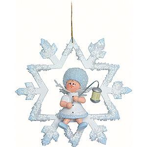Christbaumschmuck Kuhnert Schneeflöckchen Schneeflöckchen mit Lampion - 7x7x4cm