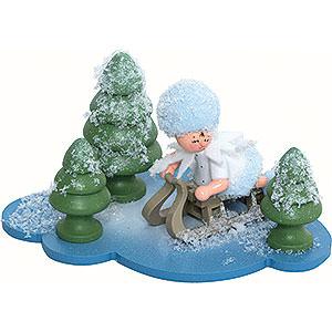 Kleine Figuren & Miniaturen Kuhnert Schneeflöckchen Schneeflöckchen mit Schlitten - 10x7x6cm