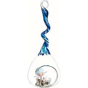 Christbaumschmuck Kuhnert Schneeflöckchen Schneeflöckchen mit Schlitten im Glastropfen blau - 20cm