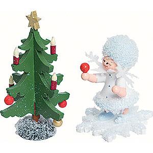 Kleine Figuren & Miniaturen Kuhnert Schneeflöckchen Schneeflöckchen mit Tannenbaum - 5cm