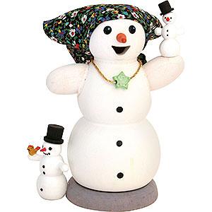 Räuchermänner Schneemänner Schneefrau mit 2 Kindern - 13 cm