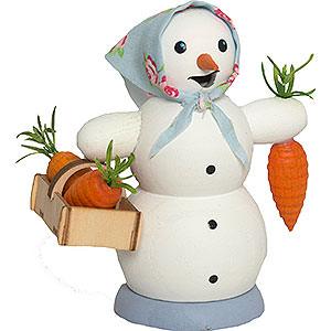 Räuchermänner Schneemänner Schneefrau mit Möhrenkorb - 13 cm