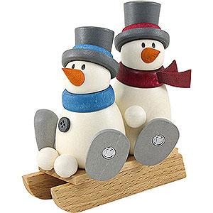 Kleine Figuren & Miniaturen Fritz & Otto (Hobler) Schneemann Fritz und Otto auf Schlitten - 9cm