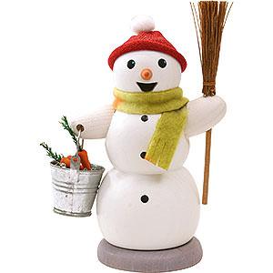 Räuchermänner Schneemänner Schneemann mit Eimer und Besen - 13 cm