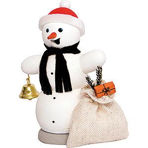 Räuchermänner Schneemänner Schneemann mit Geschenkesack - 13 cm