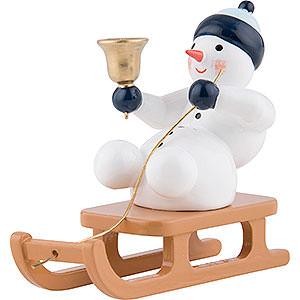 Kleine Figuren & Miniaturen alles Andere Schneemann mit Glocke auf Schlitten sitzend - 6,5 cm