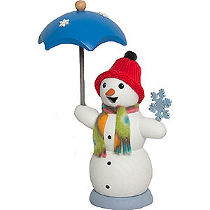 Räuchermänner Schneemänner Schneemann mit Schirm - 13 cm