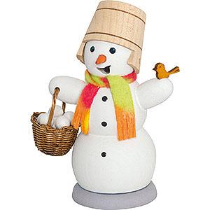 Räuchermänner Schneemänner Schneemann mit Schneeballkorb - 13 cm