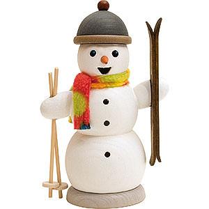Räuchermänner Schneemänner Schneemann mit Skiern - 13 cm