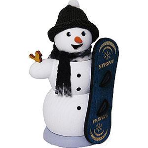 Räuchermänner Schneemänner Schneemann mit Snowboard - 13 cm