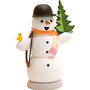 Räuchermänner Schneemänner Schneemann mit Tanne und Säge - 13 cm