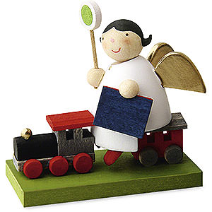 Weihnachtsengel Günter Reichel Schutzengel Schutzengel auf Eisenbahn - 3,5cm