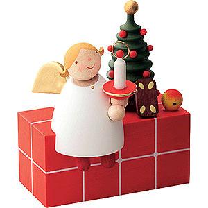 Weihnachtsengel Günter Reichel Schutzengel Schutzengel auf Paket sitzend - 3,5cm