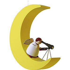 Weihnachtsengel Günter Reichel Schutzengel Schutzengel mit Fernrohr im Mond - 3,5cm