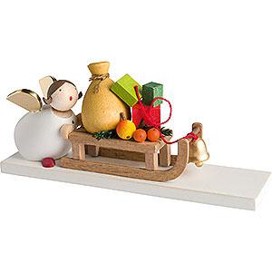 Weihnachtsengel Günter Reichel Schutzengel Schutzengel mit Geschenkeschlitten - 3,5 cm / 2inch
