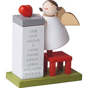 Weihnachtsengel Günter Reichel Schutzengel Schutzengel mit Herz auf Podest - 3,5 cm / 2inch