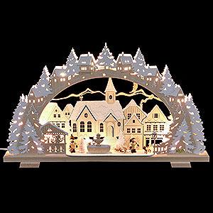 Schwibbögen Laubsägearbeiten Schwibbogen Adventszeit verschneit mit Schlittenkind und Hund - 53x31x4,5 cm
