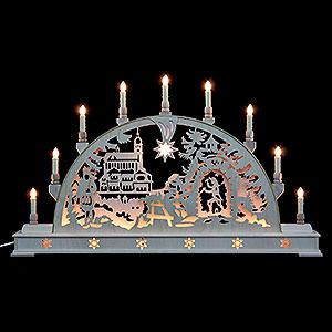 Schwibbögen Laubsägearbeiten Schwibbogen Annaberger Kirche mit Sockel - 78 cmx45 cm
