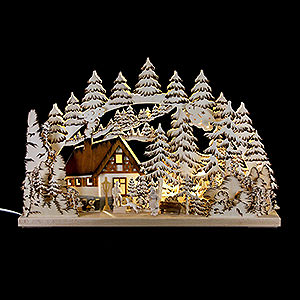 Schwibbögen Laubsägearbeiten Schwibbogen Berghütte handgemalt braun - 62x39 cm