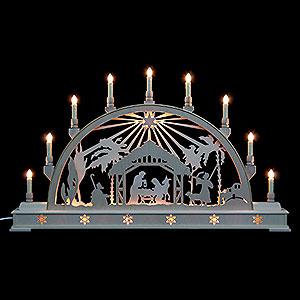 Schwibbögen Laubsägearbeiten Schwibbogen Christi Geburt mit Stern und Sockel - 78 cmx45 cm