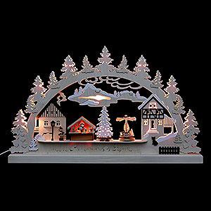 Schwibbögen Laubsägearbeiten Schwibbogen - Dorfweihnacht - 62x37x5,5cm