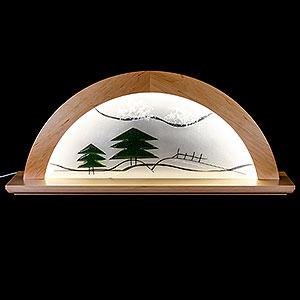 Schwibbögen Alle Schwibbögen Schwibbogen - Erle natur mit Glas und grüner Tanne - 79x14x35cm