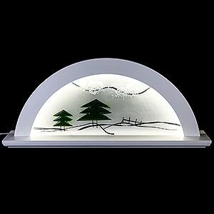 Schwibbögen Alle Schwibbögen Schwibbogen - Erle weiss mit Glas und grüner Tanne - 79x14x35cm
