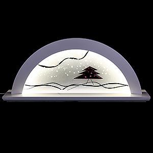 Schwibbögen Alle Schwibbögen Schwibbogen - Erle weiss mit Glas und roter Tanne - 79x14x35cm